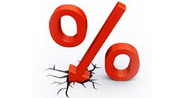 Precentage down