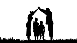 family silhouette forming a roof of a house