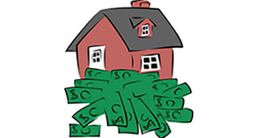 house cartoon on green dollar bills
